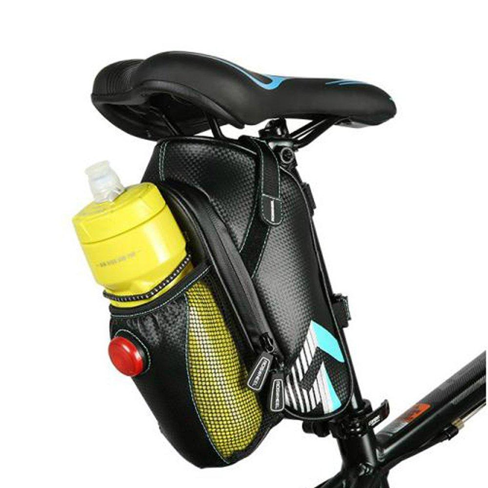 ROSWHEEL Material de fibra de carbono sillín para bicicleta impermeable bolsa bajo asiento trasero bolsa de almacenamiento para herramientas bicicleta bolsa bolsa Pack con LED Piloto Trasero, tamaño 1.6L, 131396-A E-Goal