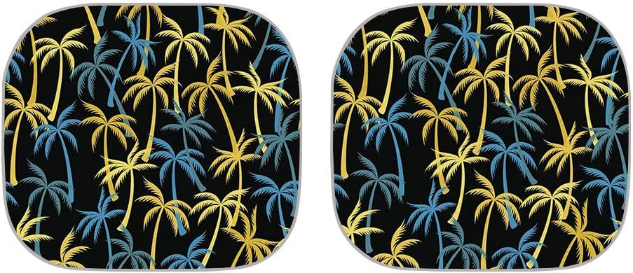 COEQINE Tropical Paradise Ocean Beach Scene with Palm Trees Print Front Car Sunshade Windshield Shade,Folding Car Windshield Sunshade Side Window Sunshade Heat and Sun Prevention Visor,2-Piece