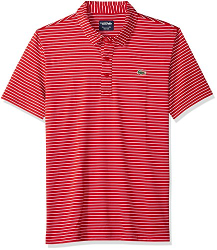 Lacoste Men's Short Sleeve Jersey Polo with Fine Stripes, White/Red, 4X-Large ()
