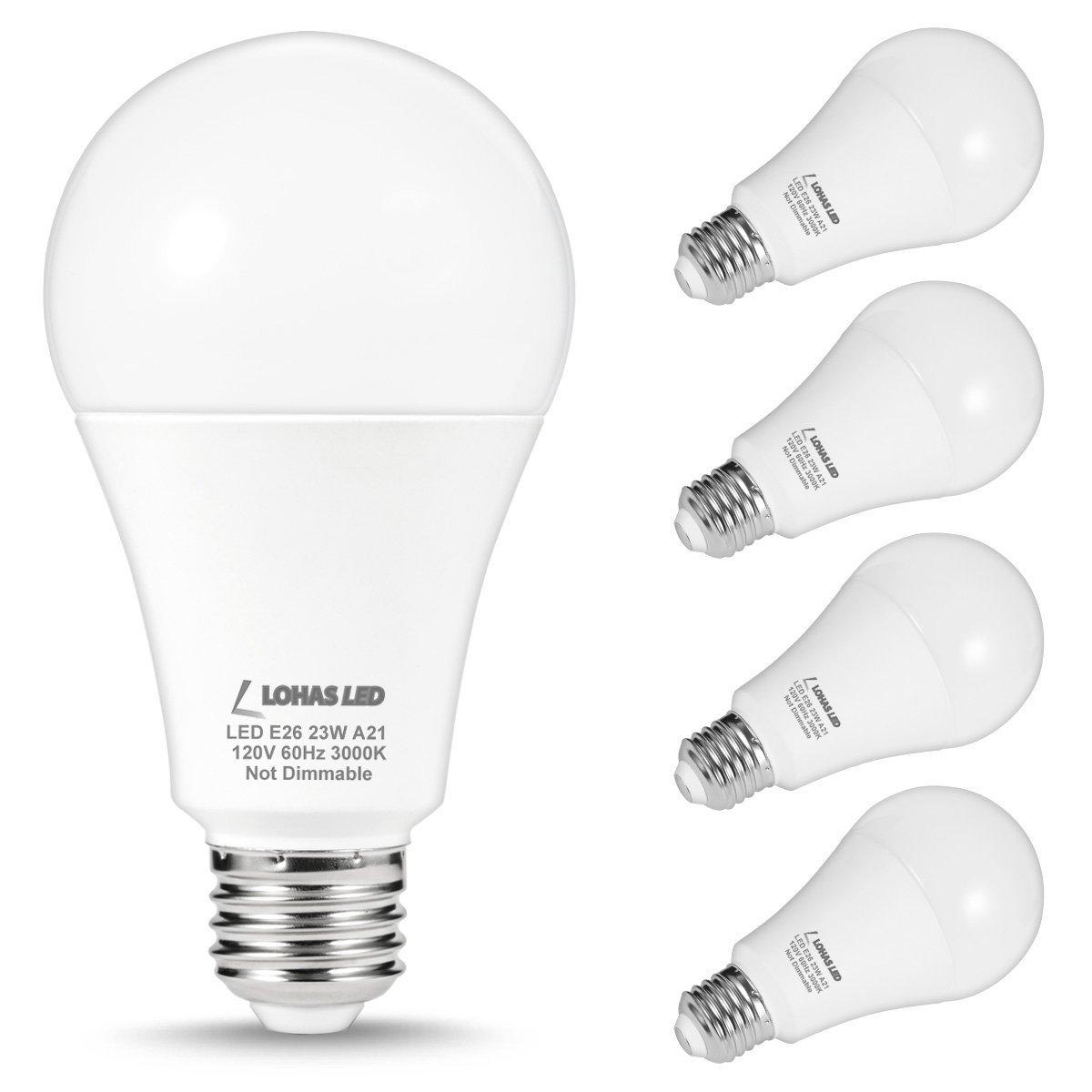 LOHAS A21 LED Light Bulb, 150-200 Watt Light Bulbs Equivalent, 23Watt Non Dimmable LED, Soft White (3000K), 2500 Lumens for Home Lighting, 4 Pack