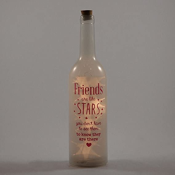 Friends Are Like Stars Light Up Bottle Illuminated Bottles Gift Range: Amazon.es: Hogar