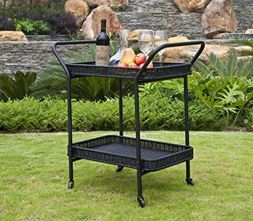 """(32"""" Black Resin Wicker Outdoor Patio Garden Serving Cart with Wheels )"""