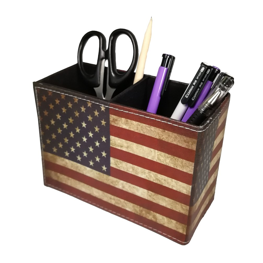 Vintage Pen Pencil Holder Cup - DreamsEden Retro Pattern Desk Organizer for Home Office Bedroom (American Flag Pattern)