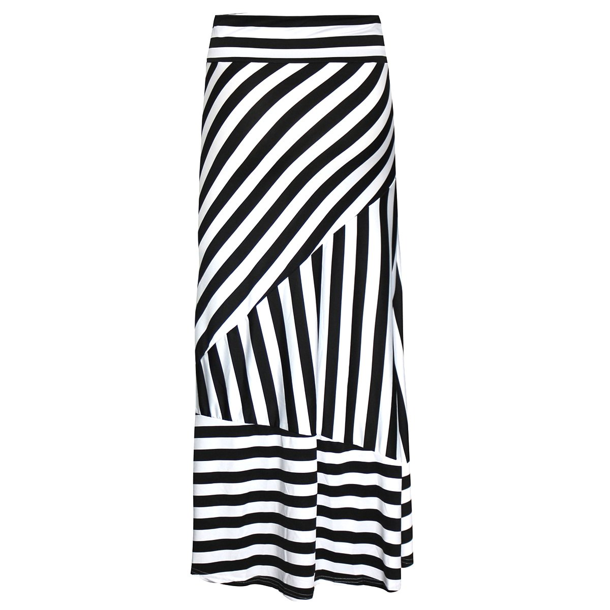 Women Black & White Stripes Maxi Long Skirt High Waist Straight Full Skirt Summer Skirts for Daily Shopping Evening Party Beach Travel Black+White 2XL