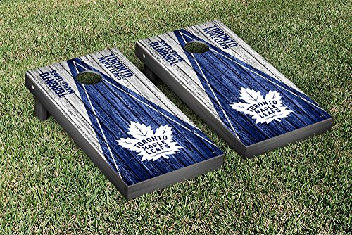 Toronto Maple Leafs NHL Regulation Cornhole Game Set Weathered Triangle Version by Victory Tailgate