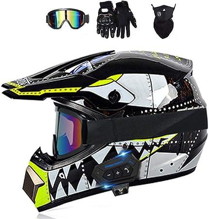 Leeny Motocross Helme Hai Aufkleber Thema Herren Damen Fullface Crosshelme Set Mit Handschuhe Maske Brille Bluetooth Headset Motorradhelm Motorrad Offroad Enduro Downhill Racing Helm M 54 55cm Auto