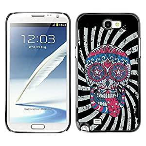 YOYO Slim PC / Aluminium Case Cover Armor Shell Portection //Cool Crazy Psycho Hipster Sugar Skull USA Flag //Samsung Note 2