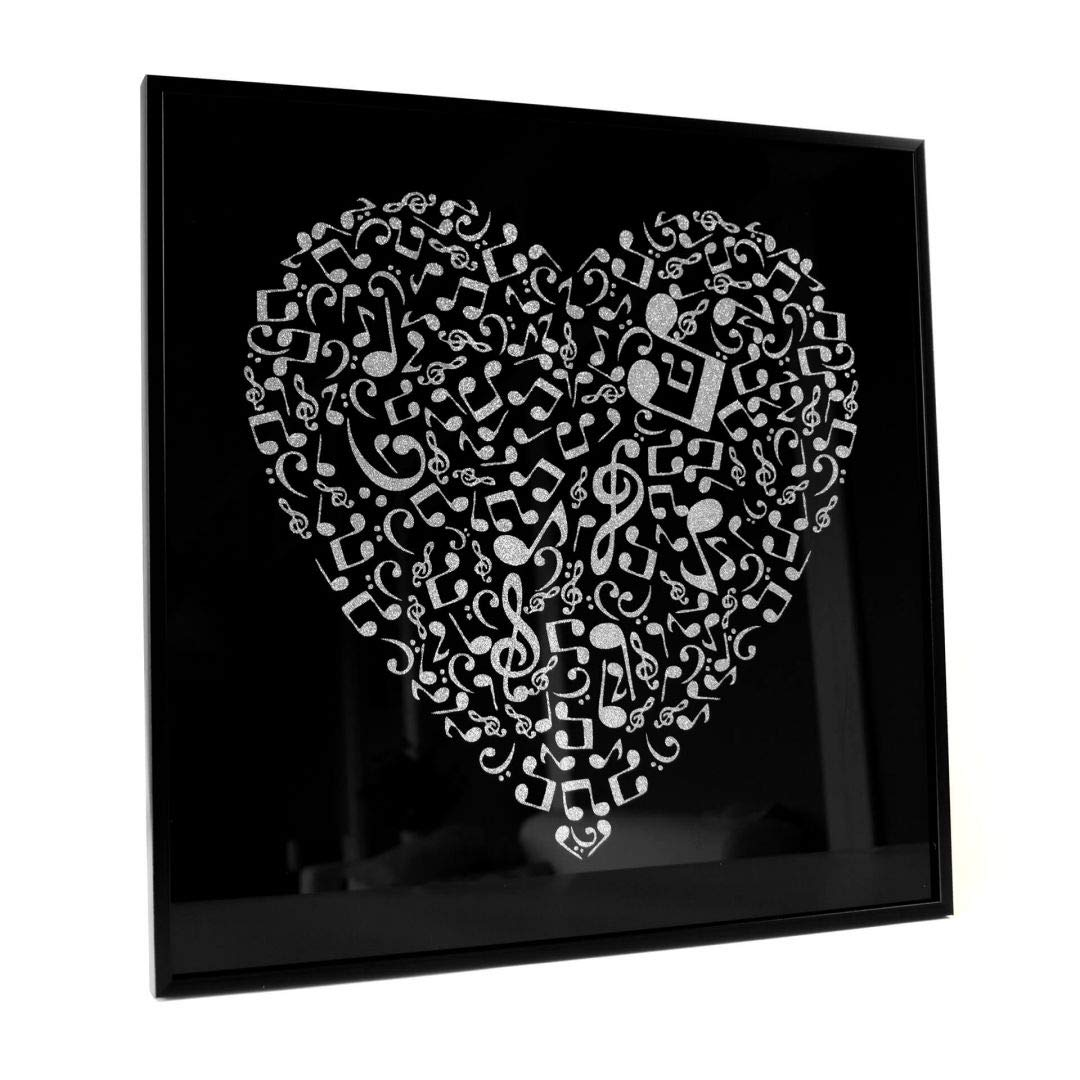 Amazon Com Wall Art Music Heart I Framed Wall Art I Silver Glitter