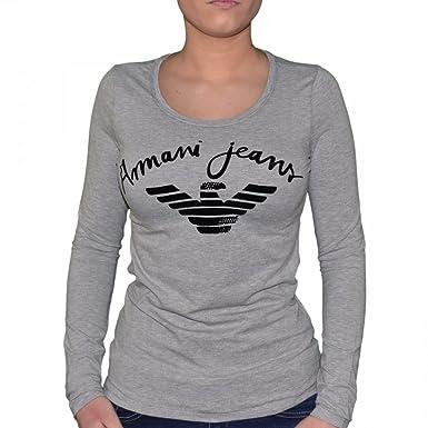 Armani Gris Jeans Shirt Chiné Manches Femme T Longues U5h21 SUjLzVpGMq