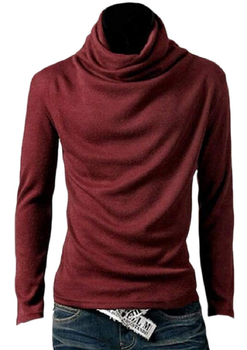 YIhujiuben Men Pure Color Pullover Funnel Neck Trim Fit Lounge Long-Sleeves Tees