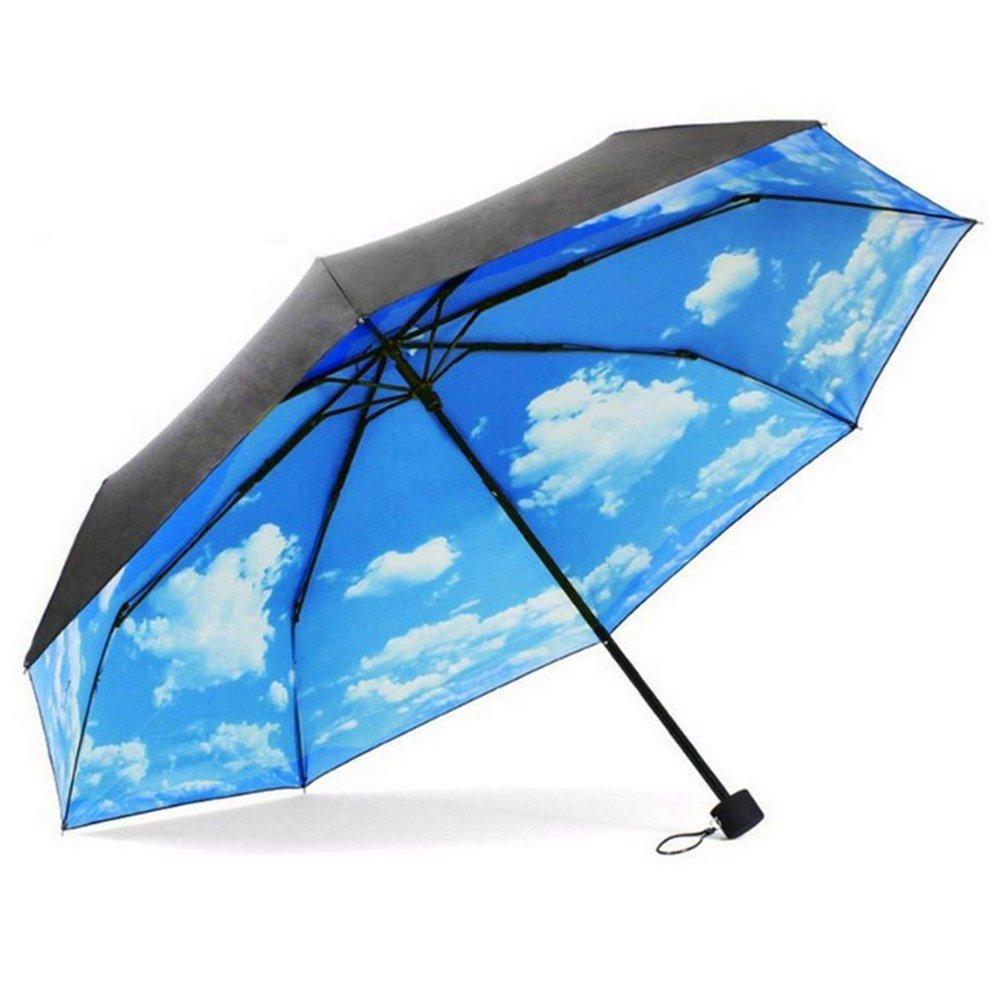 Parapluie Pliant Solide Ciel Bleu XAGOO Ré sistant Au Vent Anti-Rayonnement Incassables Voyage (Noir) 16104