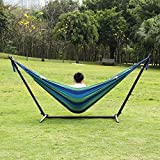 Ollieroo Double Hammock with Space-saving Steel Stand and Carrying Case 450lb Capacity Green/blue Stripes