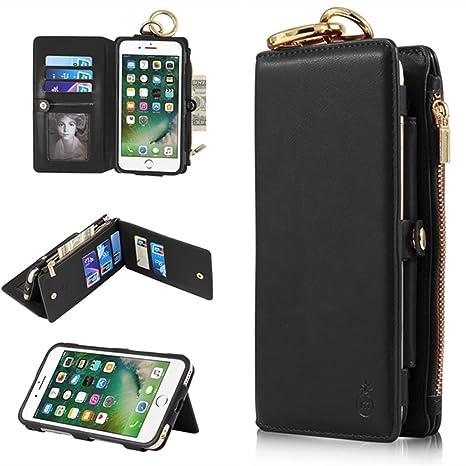 Funda iPhone 6 Plus / 6S Plus - Funda de piel Ticase Premium para billetera [Kickstand] [Desmontable] [Multifunción] Funda con tapadera para tarjeta ...