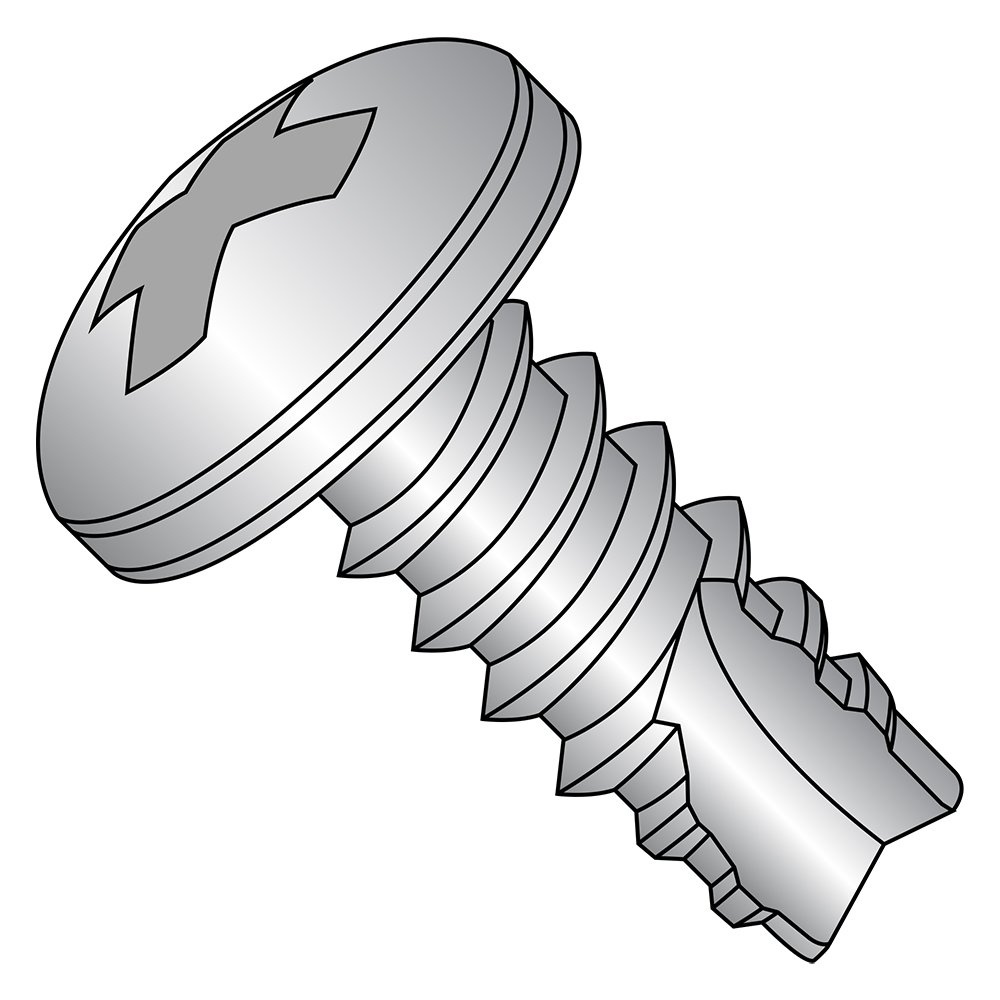 410 Stainless Steel Thread Cutting Screw, Plain Finish, Pan Head, Phillips Drive, Type 25, #4-24 Thread Size, 1/2'' Length (Pack of 100)