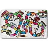 Memory Foam Bath Mat,Board Game,Game on Notebook Paper Kids and Building School Route Fun Challenge Enjoyment DecorativePlush Wanderlust Bathroom Decor Mat Rug Carpet with Anti-Slip Backing,Multicolo