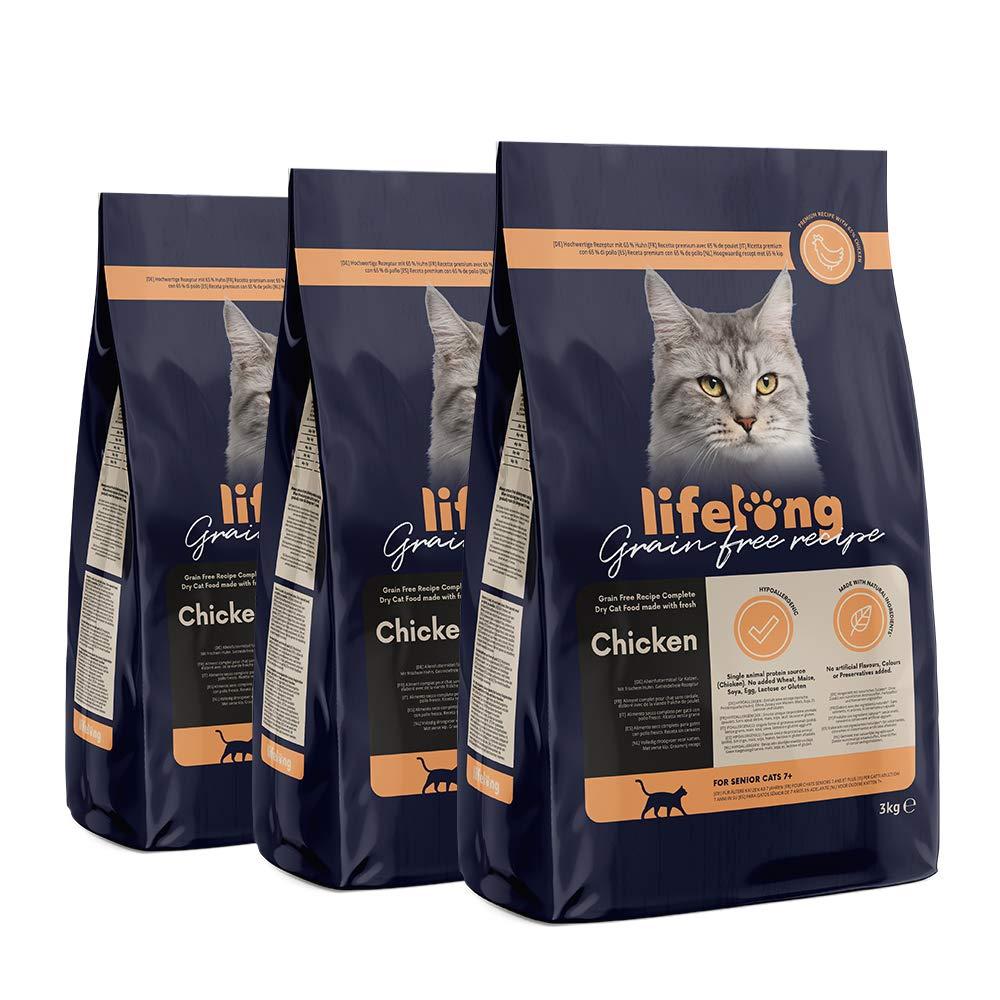 3 kg ricetta senza grano Marchio  Lifelong Alimento secco per gatti adulti con salmone fresco