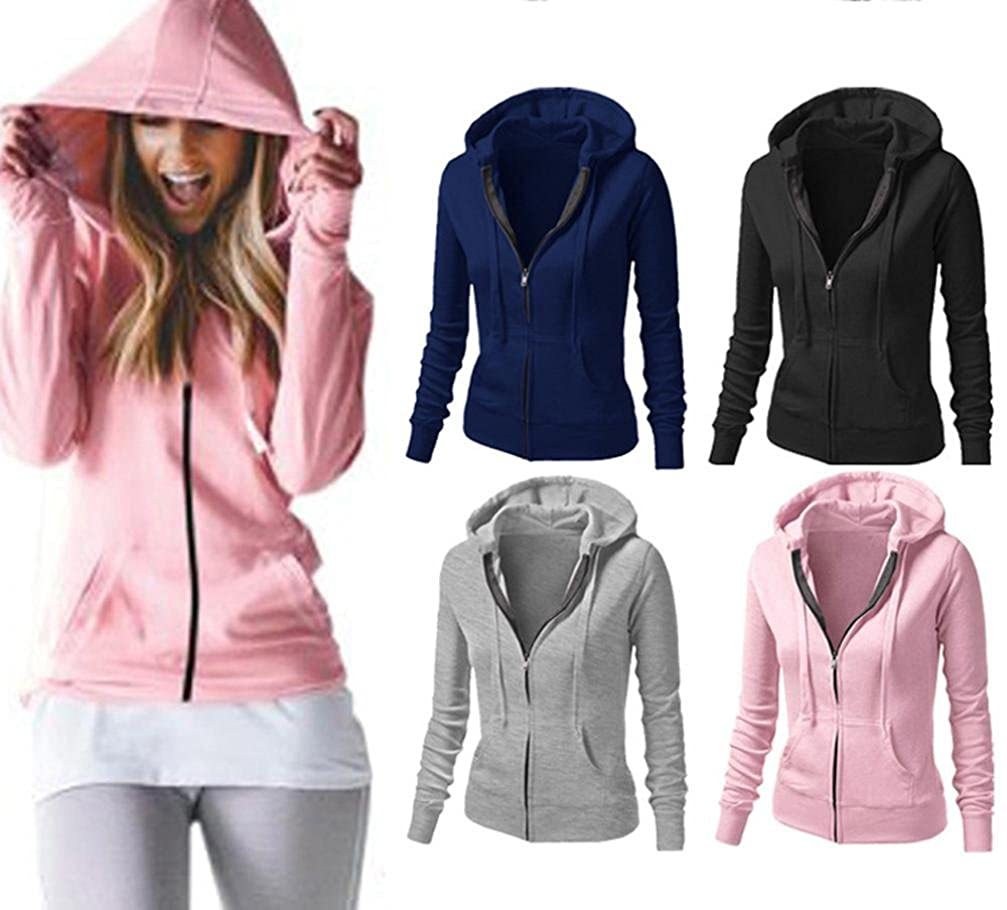 New Women Ladies Zipper Tops Hoodie Hooded Sweatshirt Coat Jacket