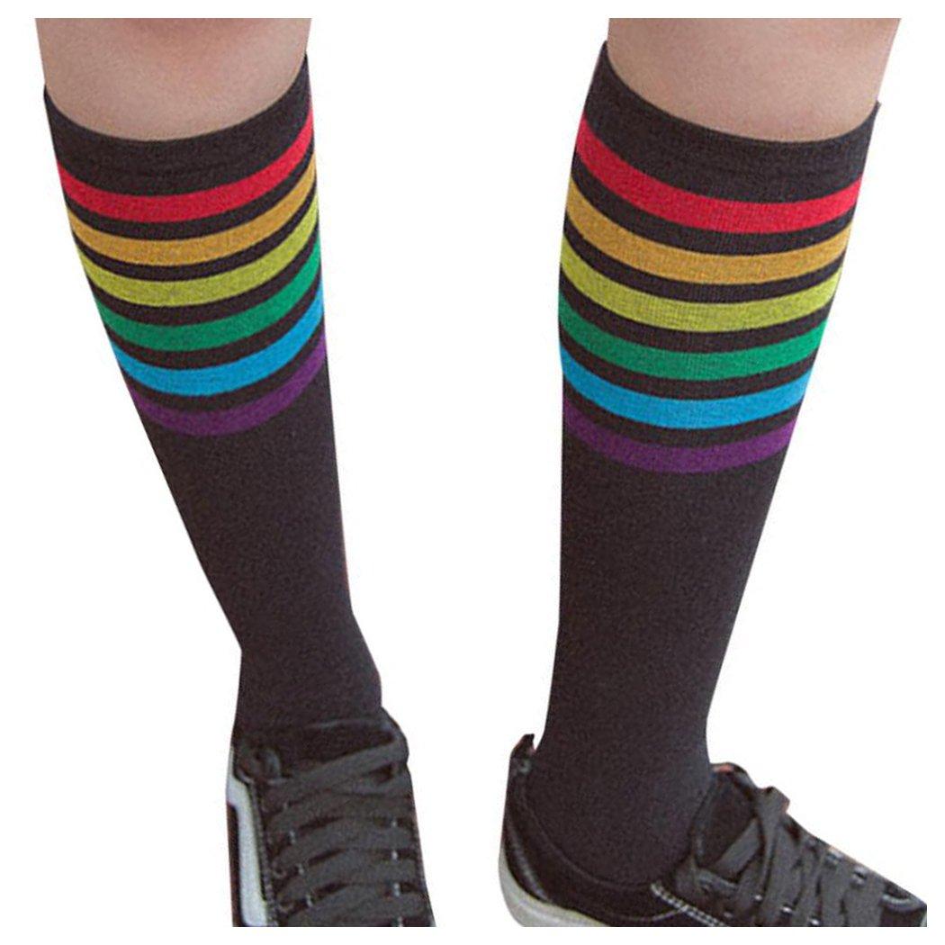 Inkach Women Toe Socks, Stylish Girls Thigh High Socks Over Knee Rainbow Stripe Printed Socks Girls Football Sport Socks (Black)