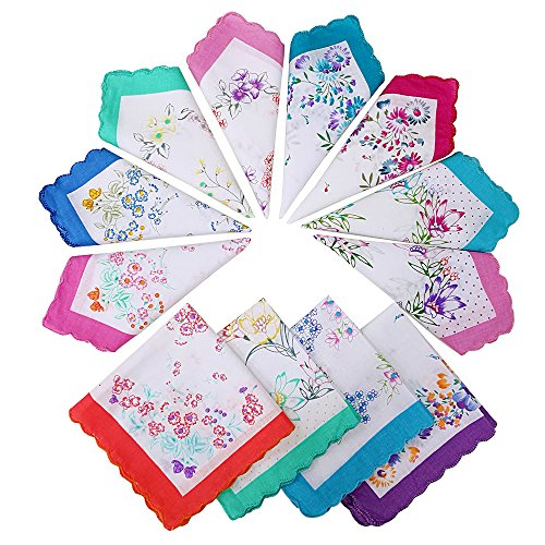 Womens Vintage Handkerchief Hankies Cotton Floral Bulk by ECSEO for Wedding Party - 12 24 36 Pack