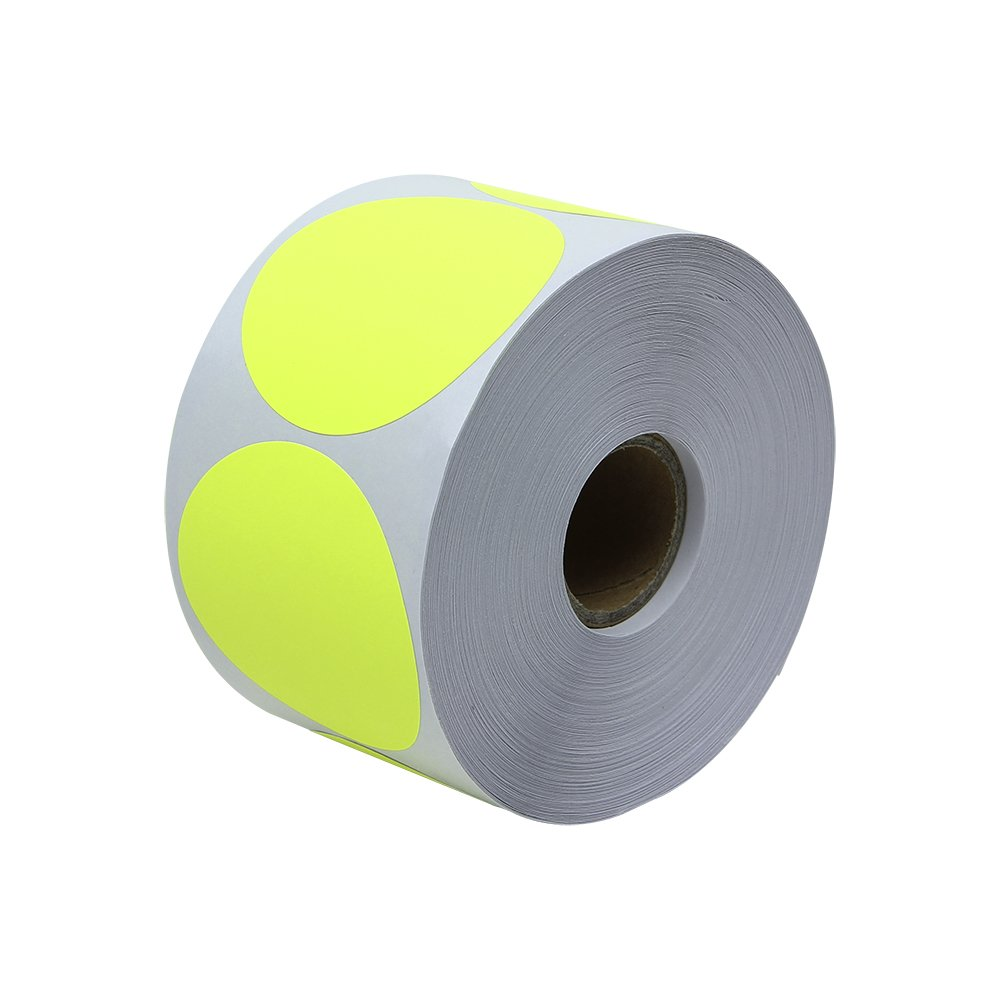 Circle Dot Round Labels Stickers Color Code Coding Garage Yard Sale Blank Write-on Inventory Bright Fluorescent Yellow - 2'' 300 Labels per Roll [50 Rolls]