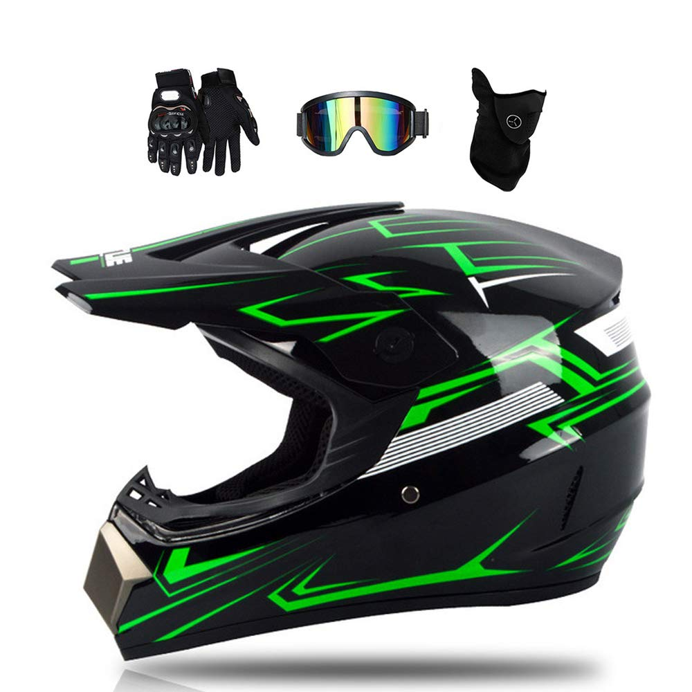 Noir et Vert 4 Pcs MRDEAR Casque Moto Cross Hors Route Adulte Casque Motocross Homme Moto Set Enfant Casque VTT Integral BMX Quad Enduro Scooter Certification Dot