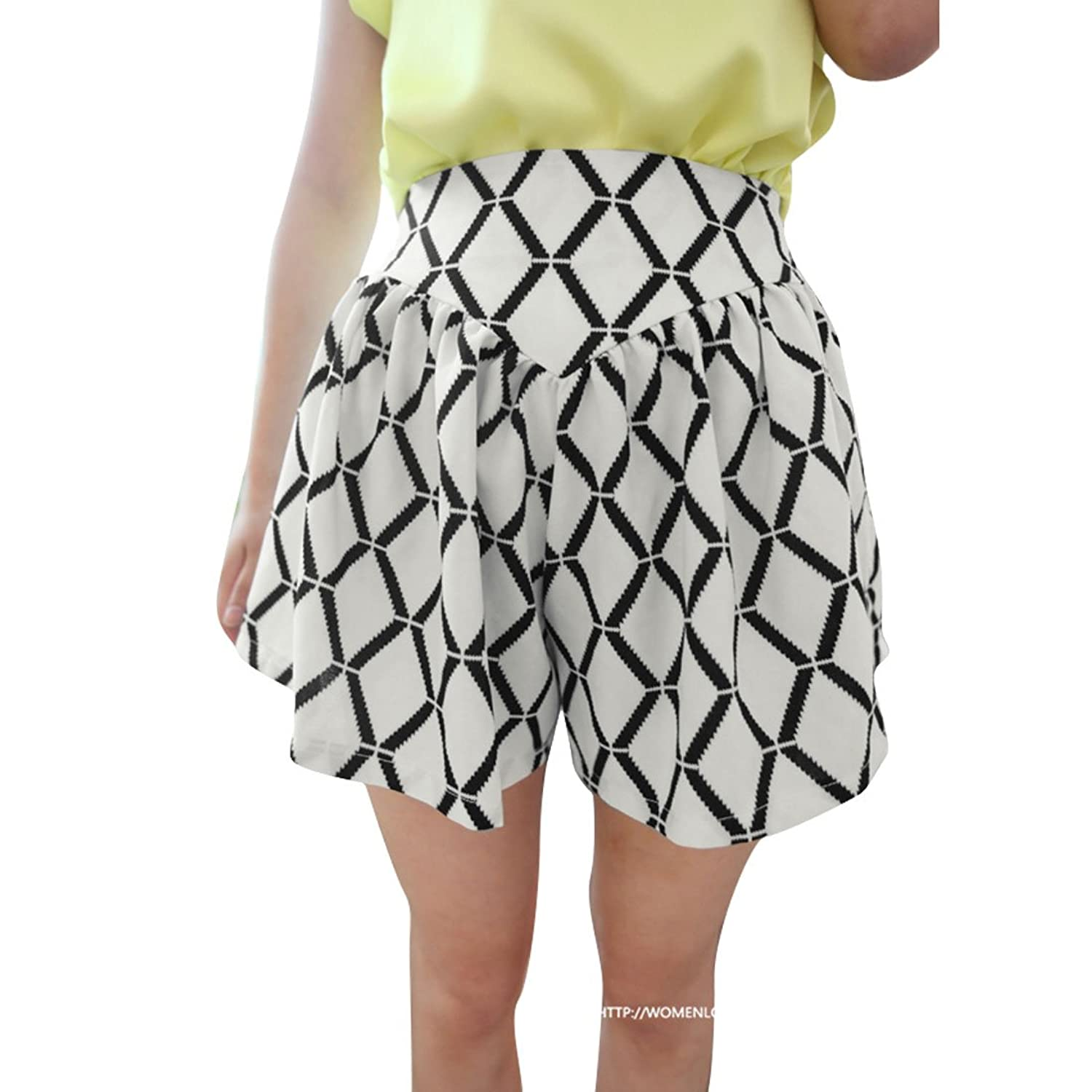 Women Argyle Pattern Color Block Casual High Waisted Shorts
