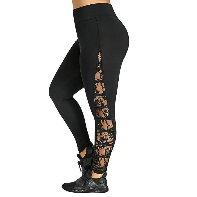 LHWY Pantalones Mujer Cintura Alta Vaqueros Moda para Mujer Cintura Alta Encaje Tallas Grandes Yoga Deporte Sexy Pantalones Leggings Pantalones