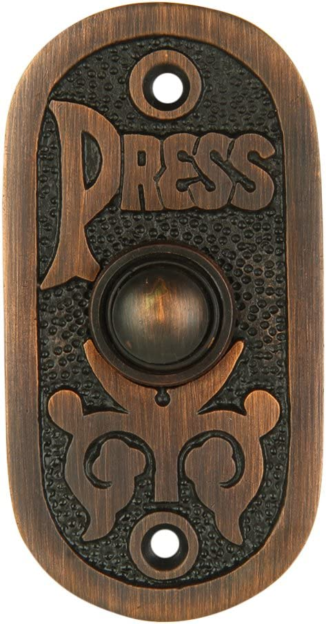 "Wired Brass Doorbell Chime Push Button in Oil Rubbed Bronze Finish Vintage Decorative Door Bell with Easy Installation, 3 1/8"" X 1 1/2"""