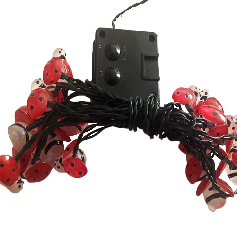 OSALADI Solar Ladybug Light 20 LED Fata String Lights 5 M Impermeabile esterno String Lights Holiday Coccinella Lampada String per la casa Camera da letto Garden Decor