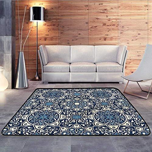 - Carpet Flooring,Arabian,Antique Tile Pattern RetroW 78.7