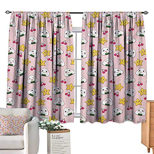 - Adjustable Tie Up Shade Rod Pocket Curtain Anime,Funny Pattern with Japanese Rice Balls Cherries and Stars Childish Food Cartoon Print,Multicolor 84