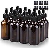 Glass Bottle Set, BonyTek 12 x 2oz Glass Spray Bottle, Amber Glass Eye Droppers Bottles for Watering Flowers…