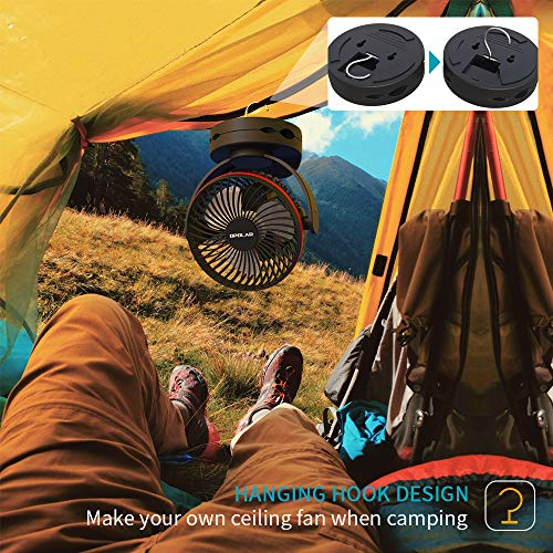 OPOLAR 5000mAh Camping Lantern Clip On Fan with Hanging Hook, 4 Speeds Quiet Airflow Personal Fan with 35 Hours Work Time for Tent, Hurricane Emergency, Battery Operated Desk Fan for Home & Office
