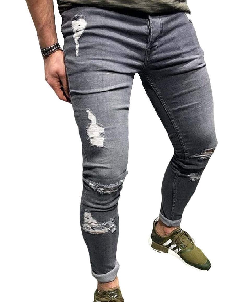 RDHOPE-Men Hole Vintage Wash Slim-Tapered Long Pant Harem Regular Fit Jean