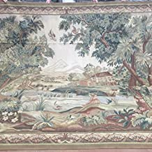 Yilong Carpet 9.5'x12.5' Handmade French Aubusson Wool Carpet Poetic Castle and Forest Wall Hanging Tapestry Au449.5x12.5