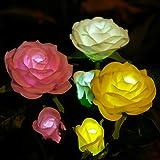 Anpro Solar Garden Rose Lights, 3 Pack Waterproof Solar Lights with 6 Roses for Garden, Courtyard, Backyard Decoration Perfec