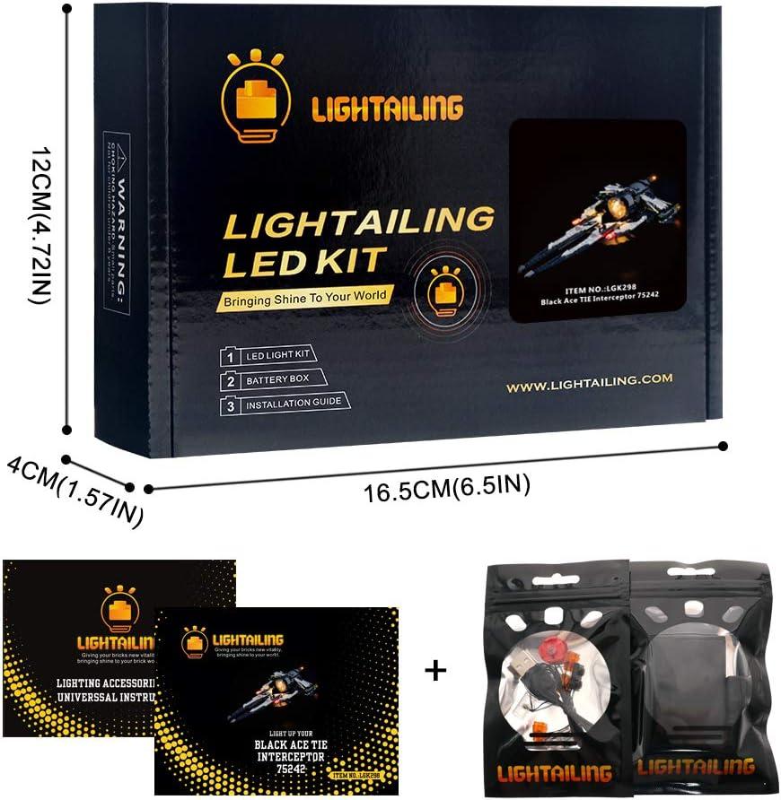 Star Wars Resistance Black Ace TIE Interceptor NOT Included The Model Led Light kit Compatible with Lego 75242 LIGHTAILING Light Set for Building Blocks Model