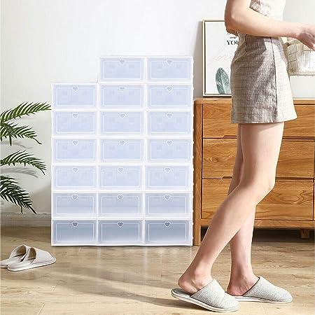 Berkalash - Caja organizadora para zapatos, 20 unidades, caja para zapatos, cajas apilables, color blanco moderno, estable y fácil de montar: Amazon.es: Hogar