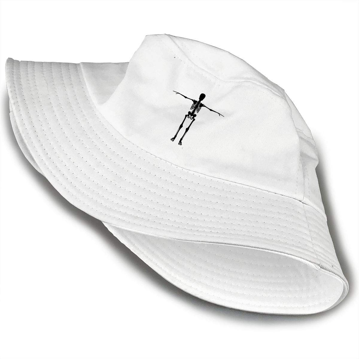 Skeleton with Arms Out Silhouette Unisex Cotton Packable White Travel Bucket Hat Fishing Cap