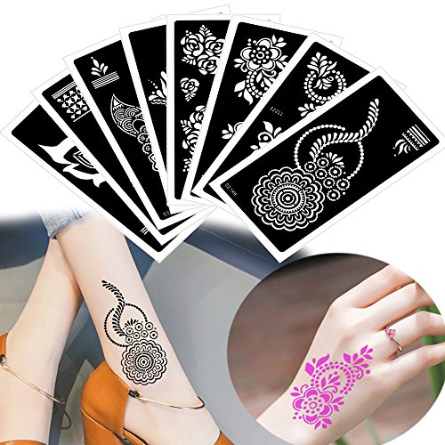 8 Sheets Hollow Body Paint Henna Stencil Airbrush Painting for Women Girl Drawing Template hot sale