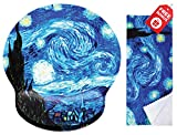 Van Gogh Starry Night Ergonomic Design Mouse Pad with Wrist Rest Hand Support. Round Large Mousing Area. Matching Microfiber Cleaning Cloth for Glasses & Screens. Great for Gaming & Work