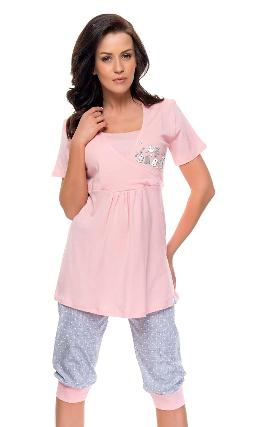2 in 1 Maternity & nursing 100% cotton 2-peace Pyjama Set 5058