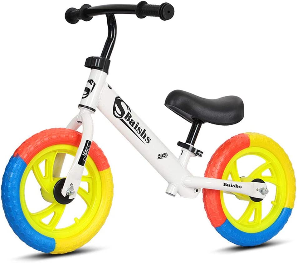 DFSSD Niños Primero Bicicletas, Equilibrio formación Bicicleta, Neumáticos de Colores, Smooth Bearings, Ahorra Esfuerzo, por 2-6 años de Edad Chico y niños pequeños,Blanco