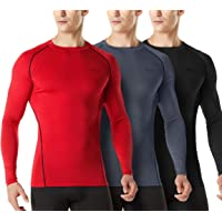 TSLA 1 or 3 Pack Men's Cool Dry Fit Long Sleeve Compression Shirts, Athletic Workout Shirt, Active Sports Base Layer T-Shirt