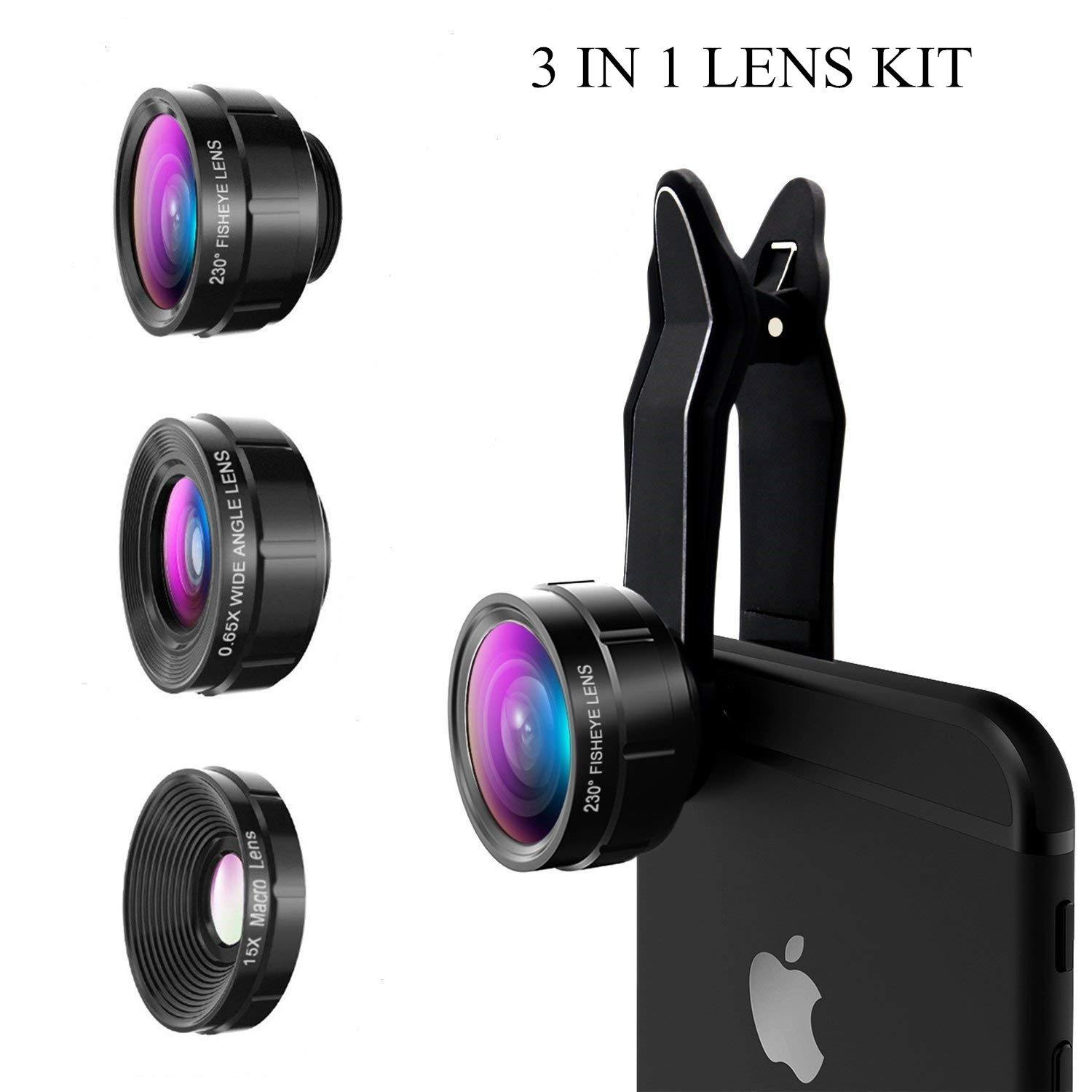 Universal Professional HD Camera Lens, icyber cellphone camera lens with 230°Fish Eye Lens Wide Angle Lens Macro Lens 3 in 1 Camera Lens Kits for iPhone 7 6 6s plus 5 5s 5c 4s ipad Samsung S8/S7/S6