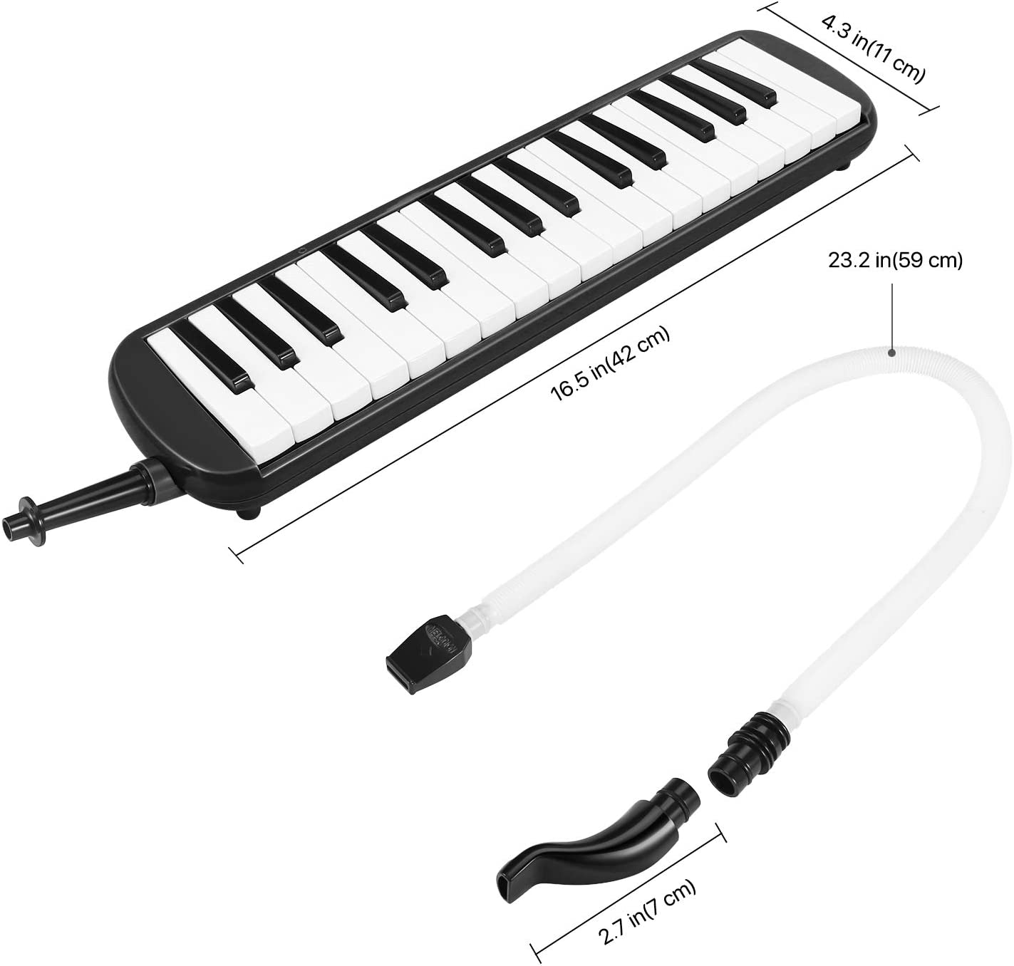 2 Long Tube Mouthpiece Flexzion Melodica 32 Key Black Pianica Blow Piano Keyboard Harmonica Wind Instrument//w Portable Carrying Bag 2 Trumpet Mouthpiece Kit for Beginners Kids Fun Music Gift