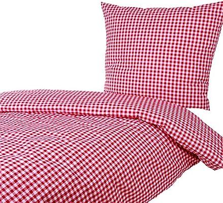 Hans Textil Shop Bettwäsche 135x200 80x80 Cm Karo 1x1 Cm Rot