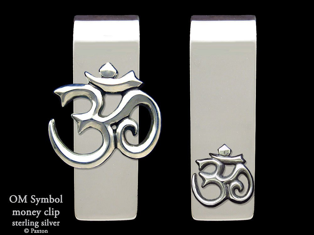 Om Symbol Money Clip in Solid Sterling Silver Hand Carved, Cast & Fabricated by Paxton