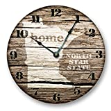MINNESOTA STATE HOMELAND CLOCK -NORTH STAR STATE - Large 10.5'' Wall Clock - Printed Wood Image- MN_FT