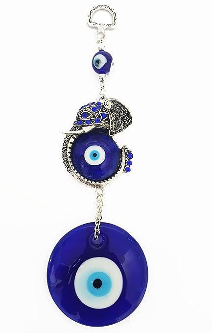 Mehrunnisa Turkish Evil Eye Elephant Good Luck Charm Hanging in Glass  (MEH616)